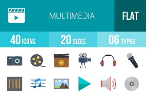 40 Multimedia Flat Multicolor Icons