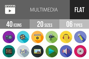 40 Multimedia Flat Shadowed Icons