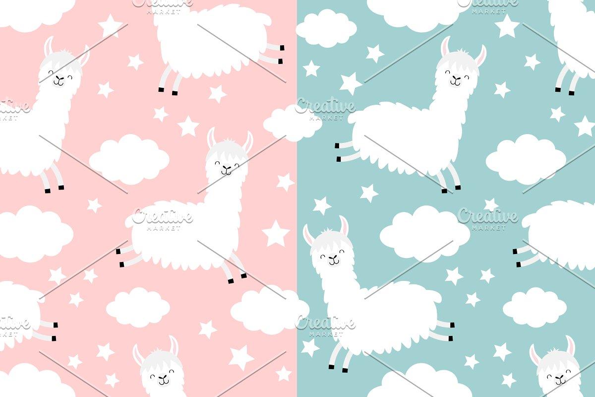 Seamless Pattern  Alpaca llama Cloud