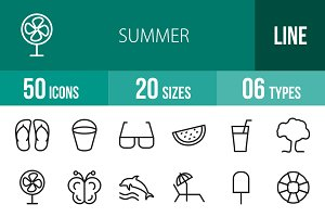 50 Summer Line Icons