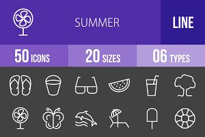 50 Summer Line Inverted Icons