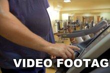 Man finishing his workout treadmill