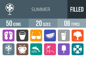 50 Summer Flat Round Corner Icons