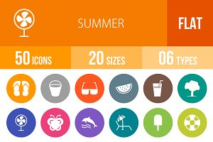 50 Summer Flat Round Icons