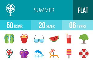 50 Summer Flat Multicolor Icons