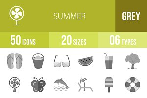50 Summer Greyscale Icons