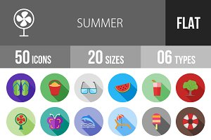 50 Summer Flat Shadowed Icons