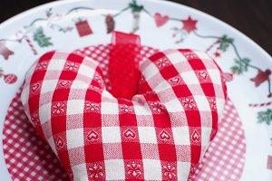 Soft heart on a christmas plate