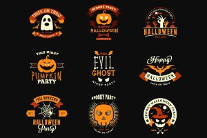 Set of Happy Halloween Badges