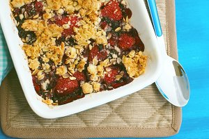 Just baked crumble with strawberries