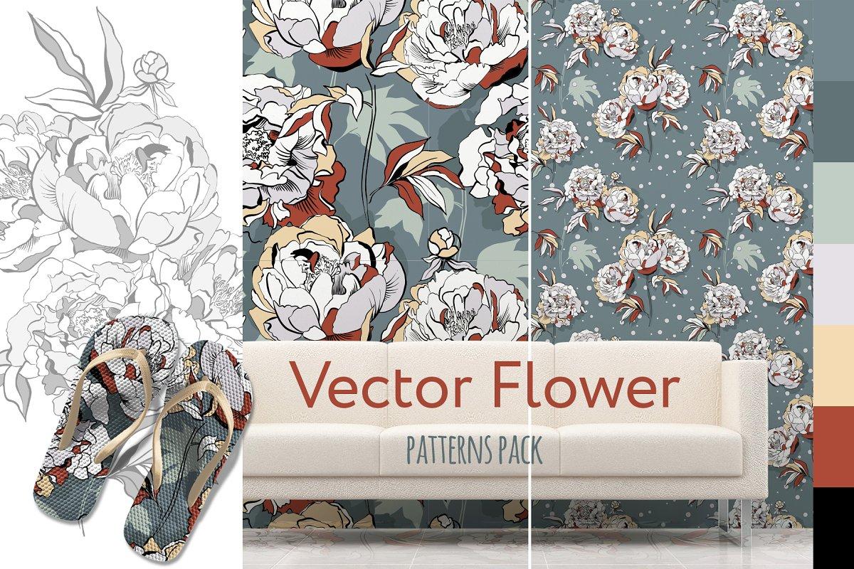 Flowers seamless patterns.