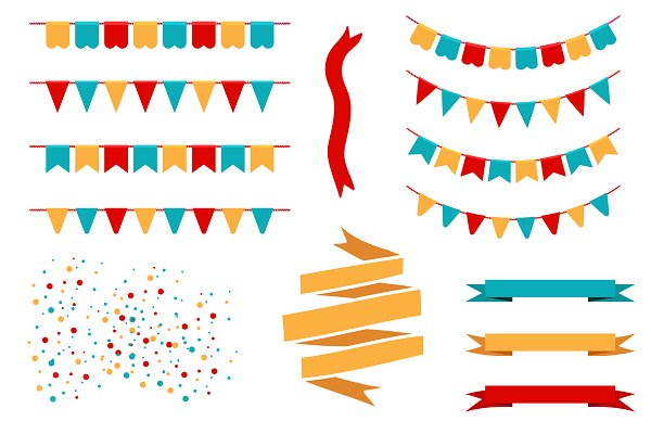 Holiday flags, garlands and banners