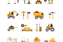 Road construction equipment icons