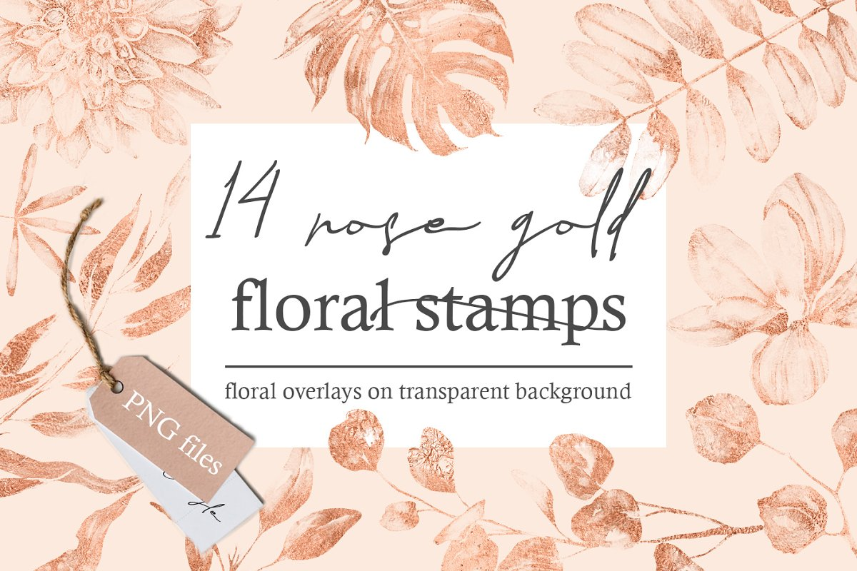 Rose Gold Floral Stamps 14 Png Custom Designed Graphic Objects
