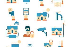 Smart House set of icons. Flat