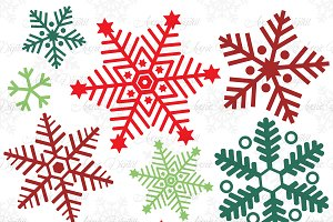 Red Snowflakes Clipart