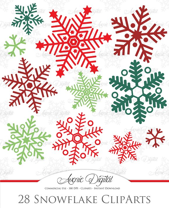 28 Christmas Snowflakes ~ Illustrations on Creative Market