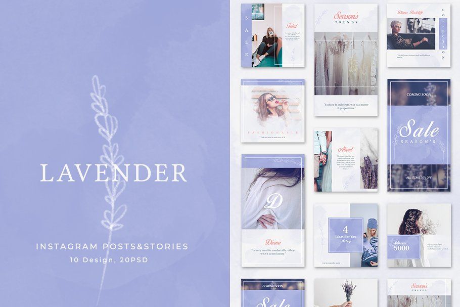 Instagram Posts & Stories - Lavender
