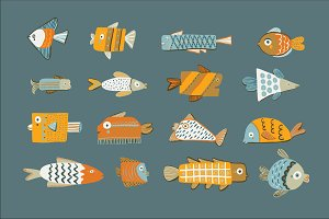Funny fish set
