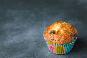 Homemade chocolate chip muffin.