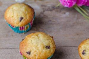 Homemade chocolate chip muffins.