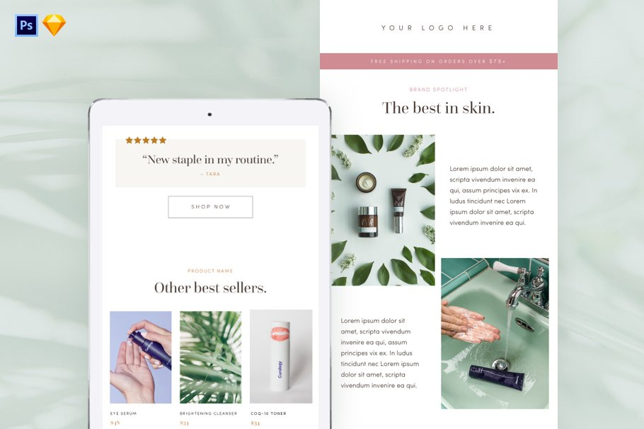 Skincare Email Template PSD