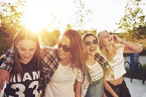 Girls enjoying a summer evening