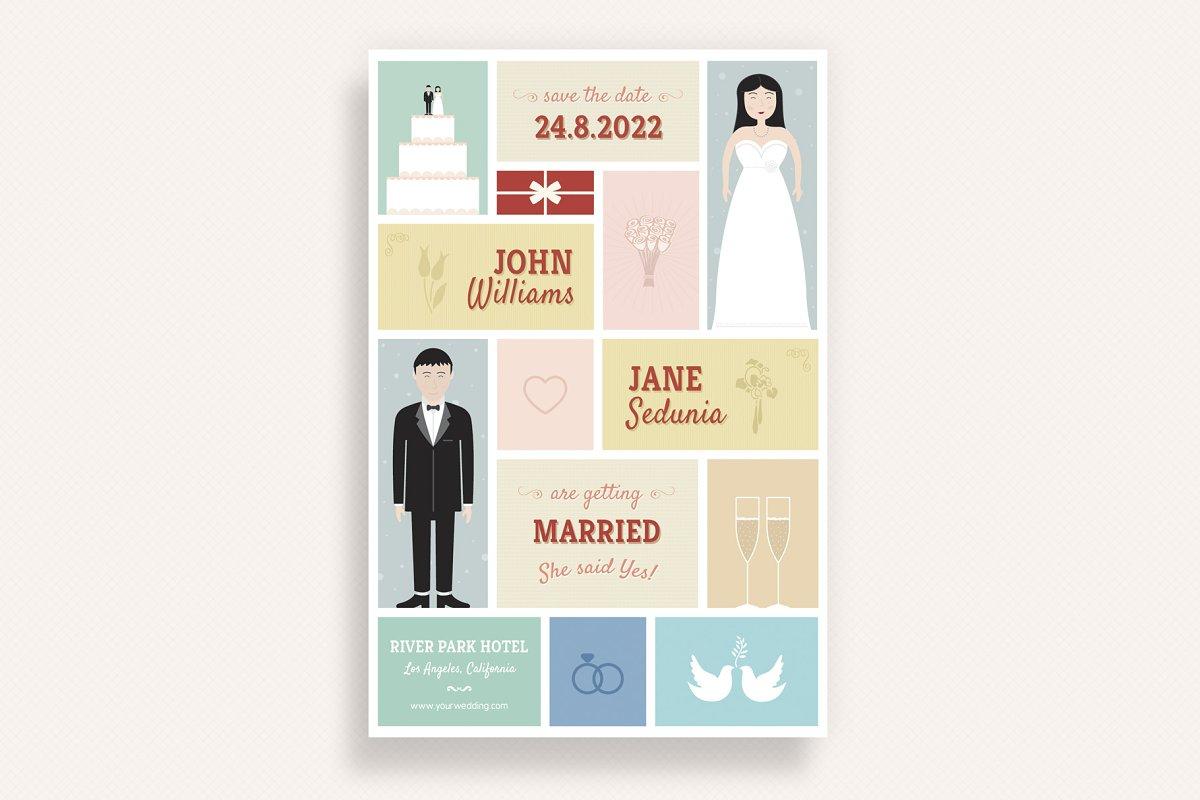 Cute Wedding and Invitation Card