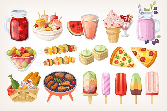 Summer party food ~ Illustrations ~ Creative Market   Adults Clipart Party Snacks