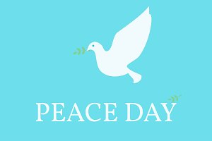 Peace Day Poster. Dove and olive