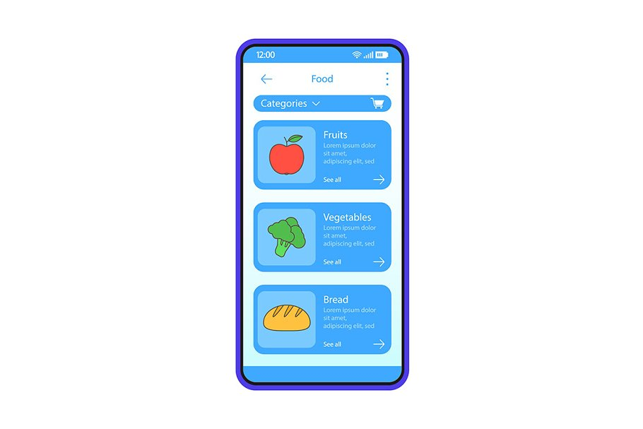 Grocery store app interface template