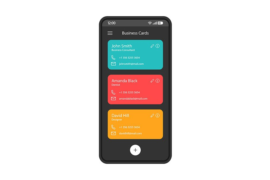 Contact list smartphone interface