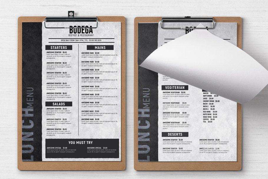 Minimal Food Menu Flyer Templates Creative Market