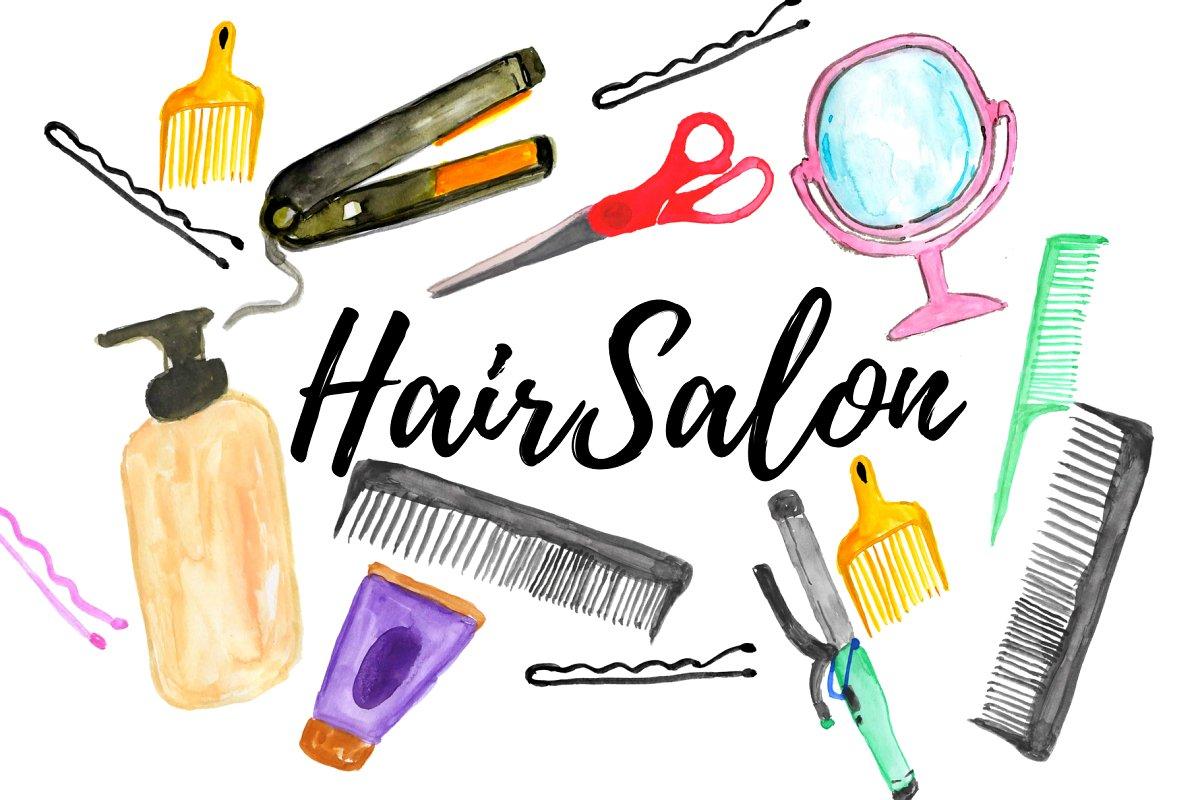 a99830e40 Watercolor hair salon clipart ~ Illustrations ~ Creative Market