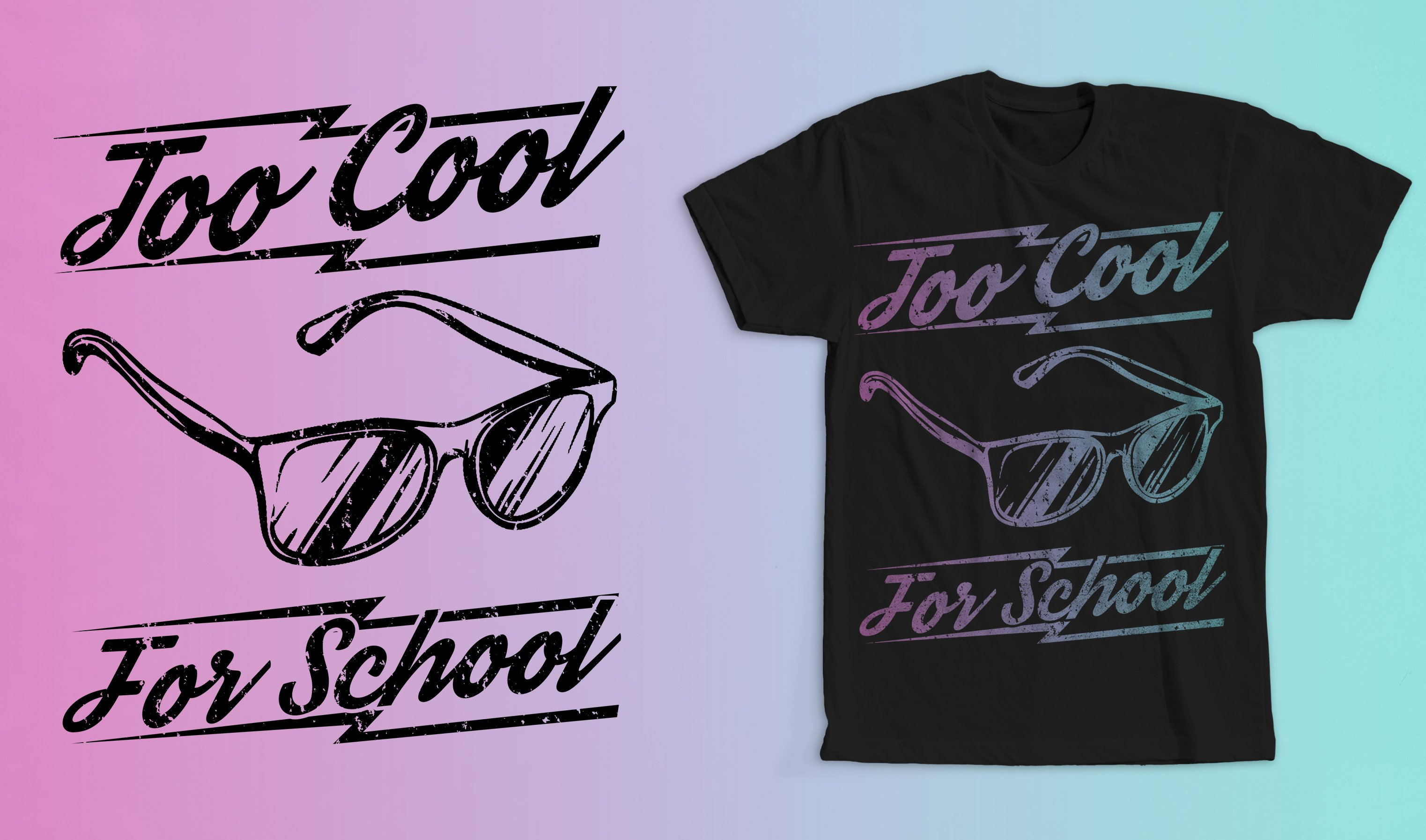 Too Cool For School T-Shirt Design