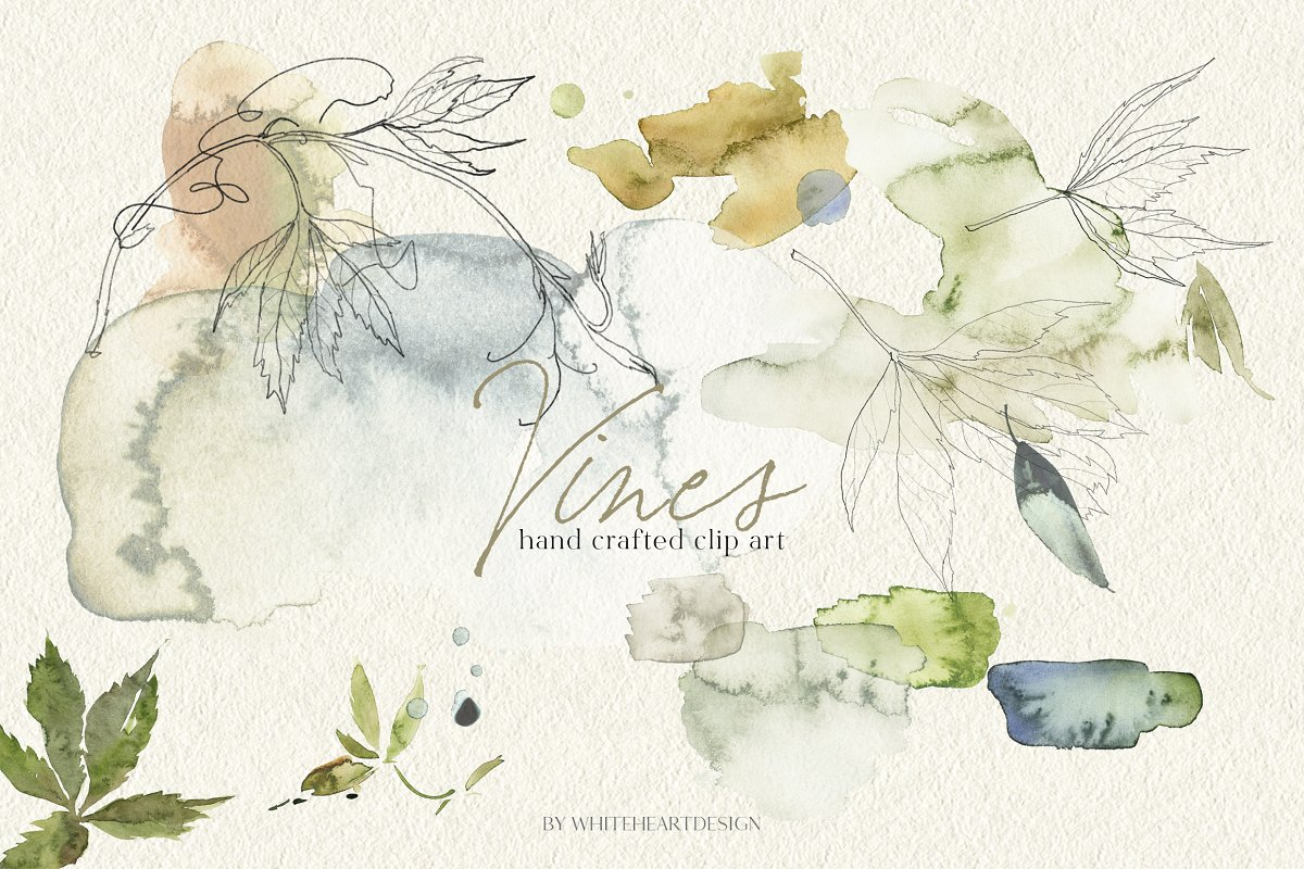 Vines Abstract Watercolor Clipart