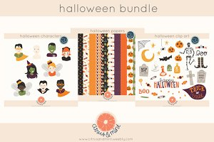 halloween clip art and paper pack