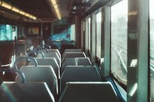 Inside of an empty suburban train by  in Transportation
