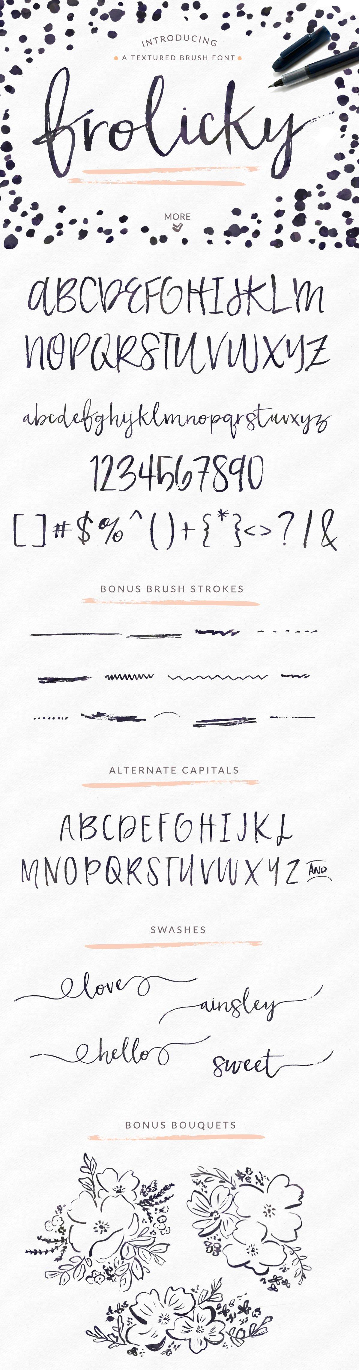 Frolicky a brushed font extras script fonts