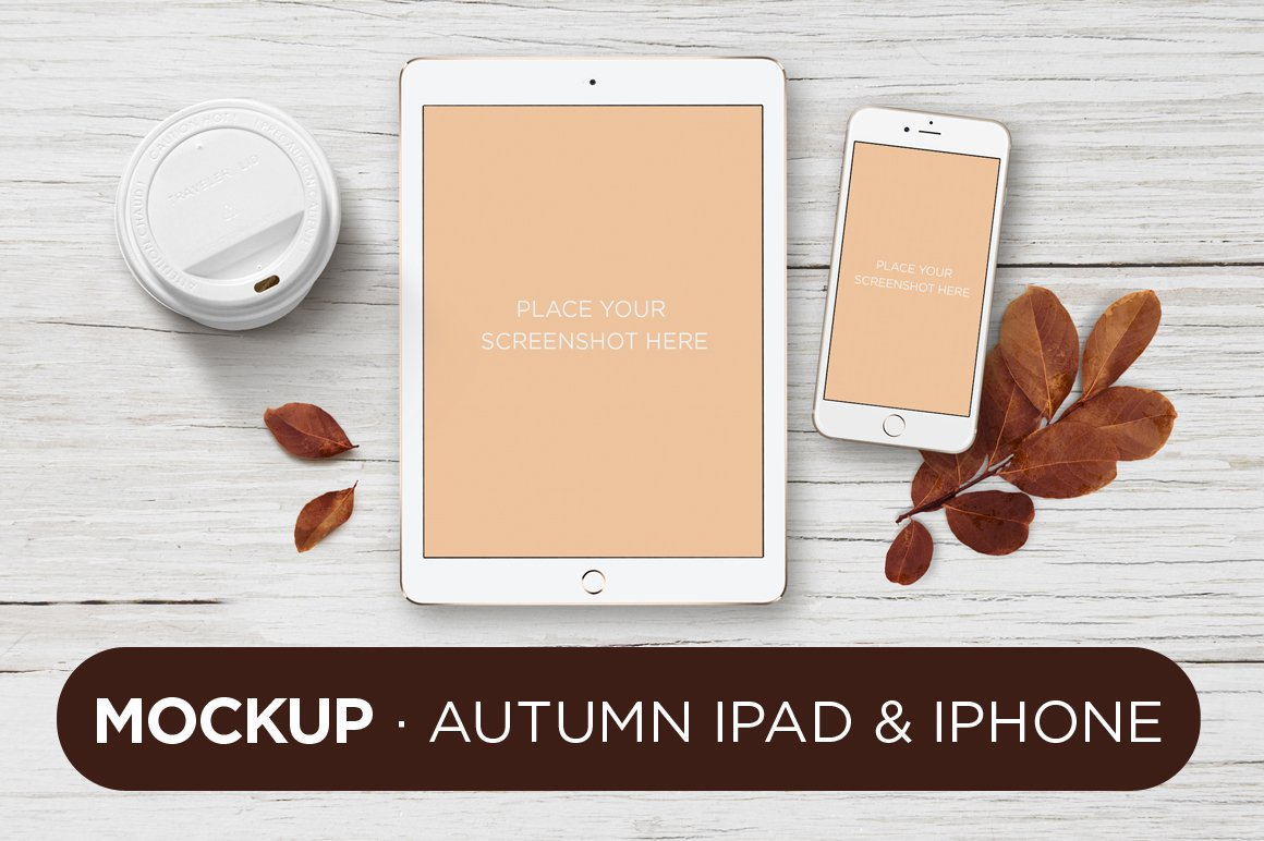 mockup autumn ipad iphone product mockups creative market - Ipad And Iphone Mockup