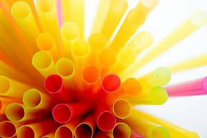 Colored plastic straws