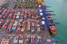 Aerial top view of container cargo s by  in Transportation