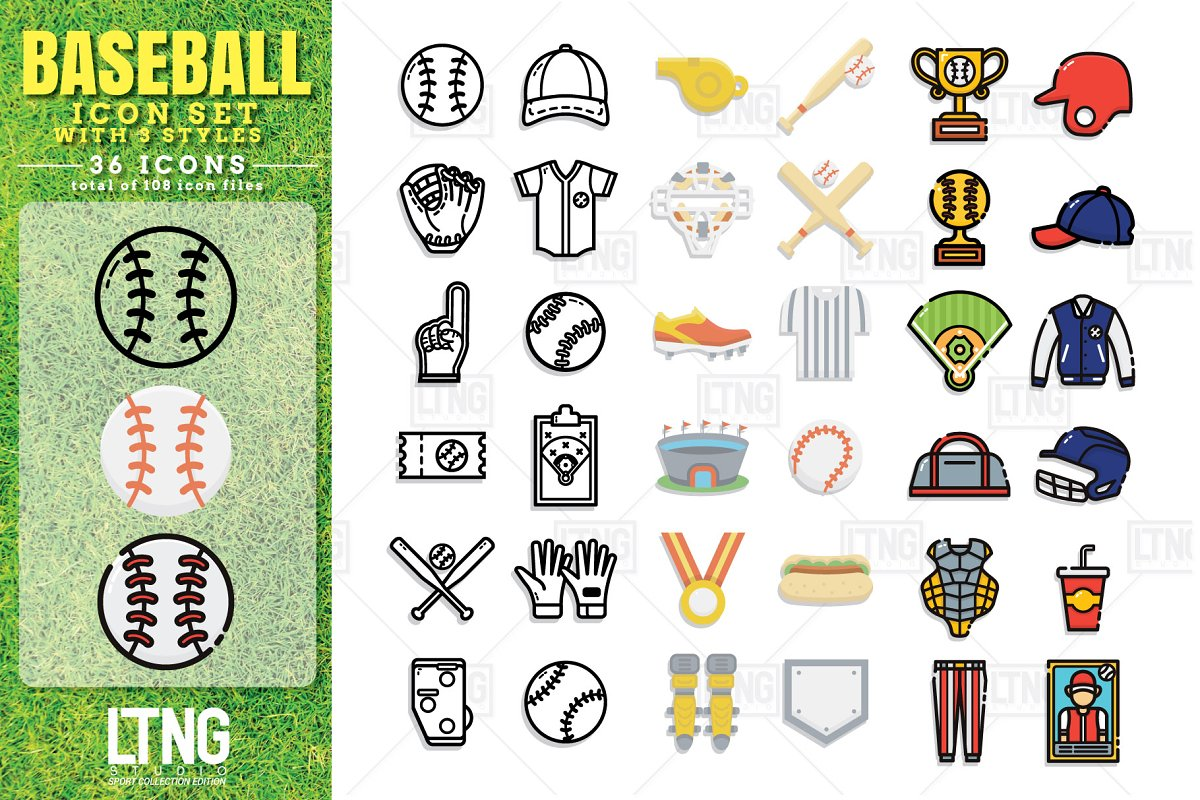 Baseball icon set with 3 styles