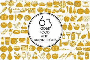Gold Food and Drink Icons