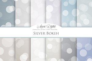 Silver Bokeh Digital Paper