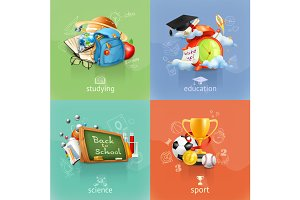 School illustration icons