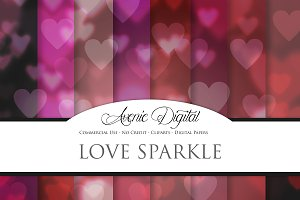 Love Sparkle Bokeh Digital Paper