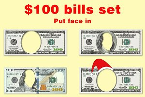 Set of $100 bills with no face