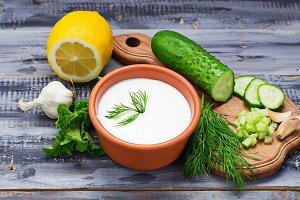 Ingredients for tzatziki sauce