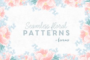 6 Seamless floral patterns + bonus